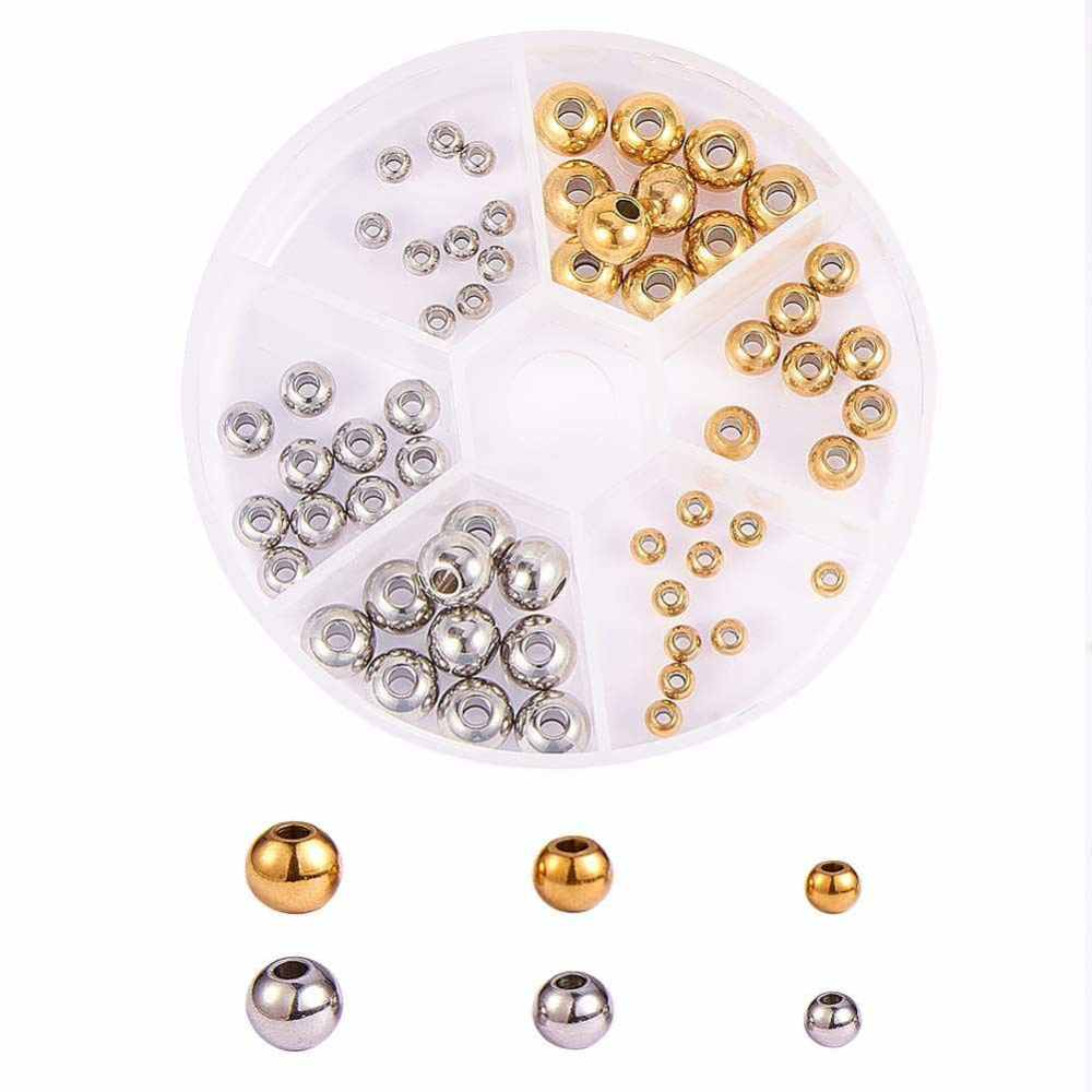 PandaHall Nbeads® 304 Stainless Steel Rondelle Spacer Beads, Mixed Color, 8x2cm; Spacer Bead: 4~8x3~6mm, Hole: 1.5~3mm; 60pcs/box...