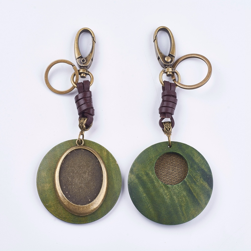PandaHall_Alloy_Key_Chains_Findings_Cabochon_Settings_with_Coconut_Shell_Flat_Round_with_Oval_Antique_Bronze_Green_Tray_30x40mm