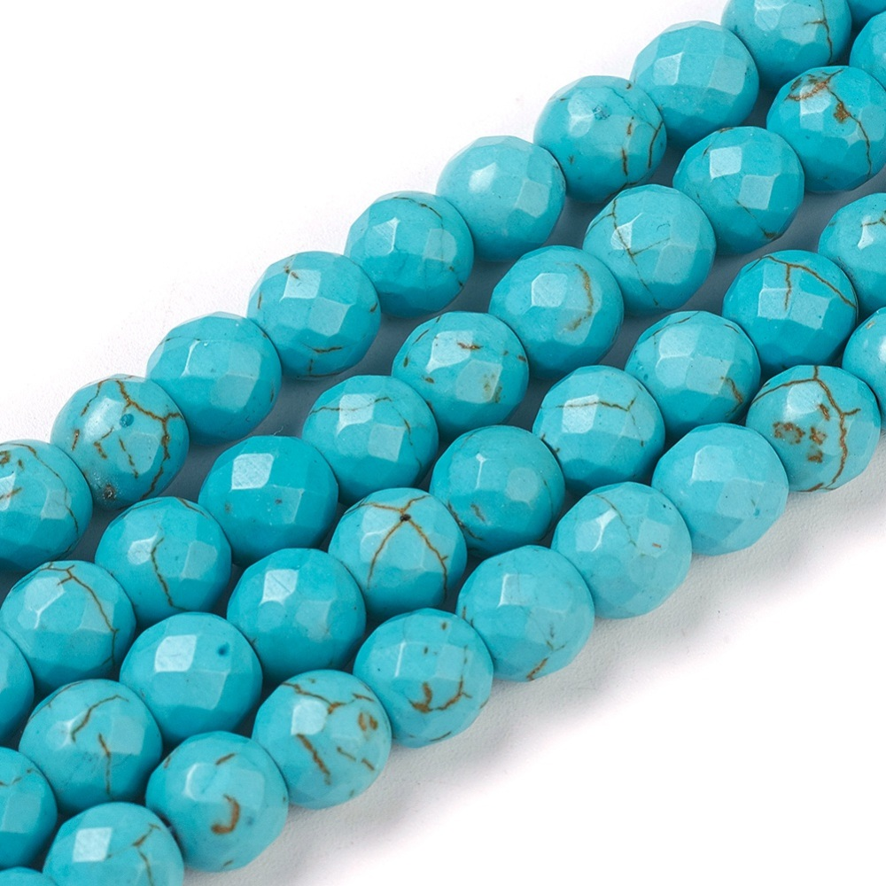 PandaHall_Synthetic_Turquoise_Beads_Strands_Dyed_Faceted_Round_8x7~75mm_Hole_1mm_about_50pcsstrand_138352cm_Synthetic