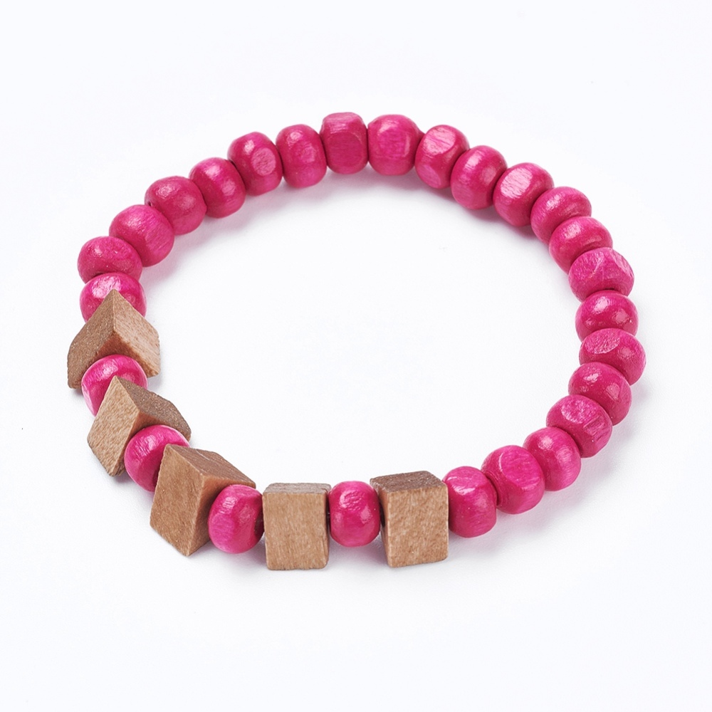 PandaHall_Kids_Stretch_Bracelets_with_Round_Wood_Beads_and_Triangle_Wood_Beads_HotPink_13446cm_Wood_Pink