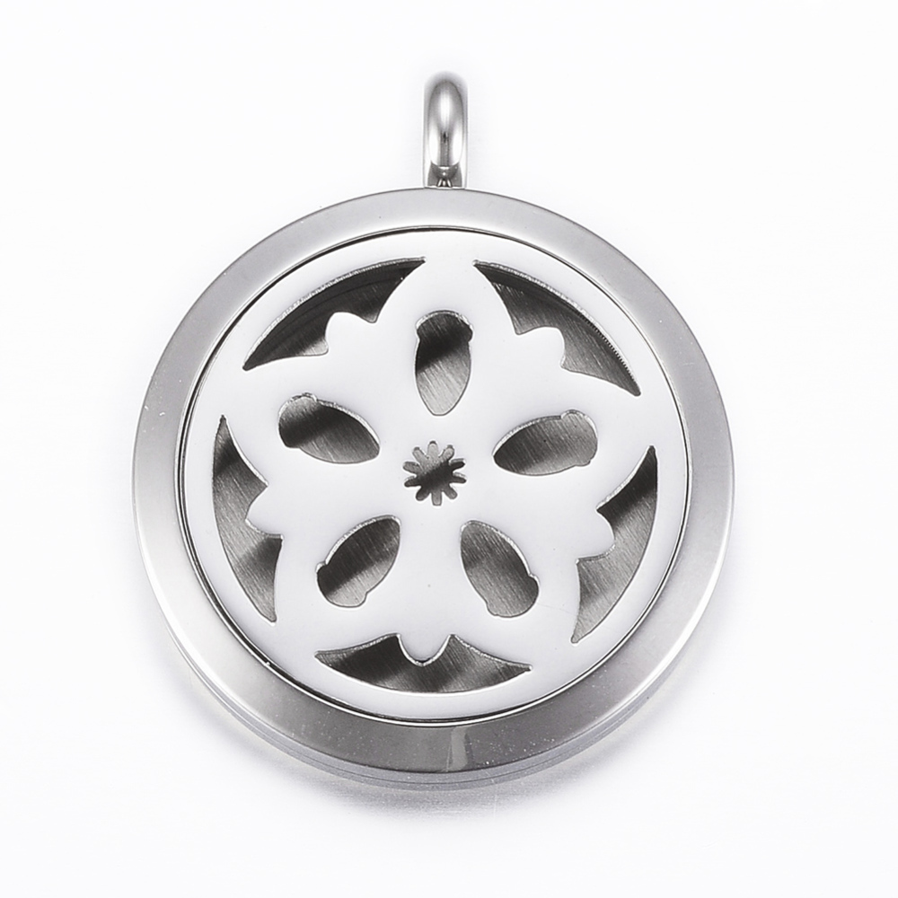 PandaHall_316_Stainless_Steel_Diffuser_Locket_Pendants_with_Perfume_Pad_and_Magnetic_Clasps_Flat_Round_with_Flower_Stainless_Steel_Color