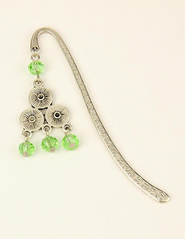PandaHall_Tibetan_Style_BookmarksHairpins_with_Glass_Beads_LightGreen_84mm_Alloy_Green