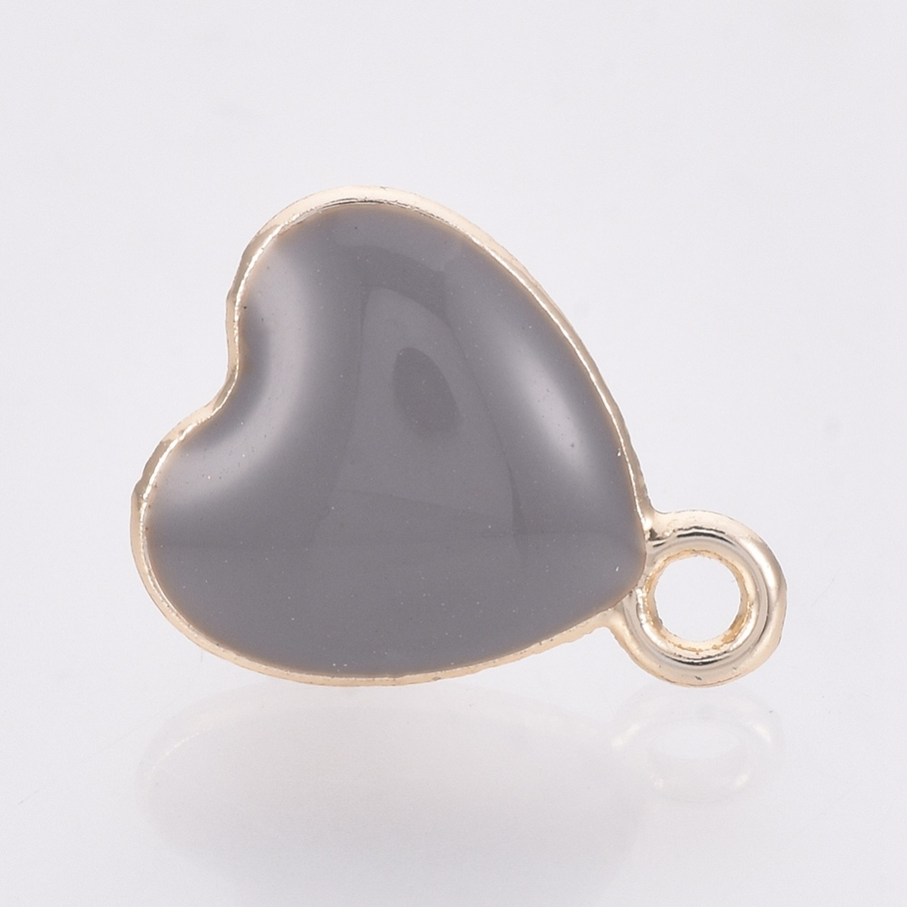 PandaHall_Alloy_Enamel_Stud_Earring_Findings_Heart_Golden_SlateGray_13x10mm_Hole_15mm_Pin_08mm_Alloy_Gray