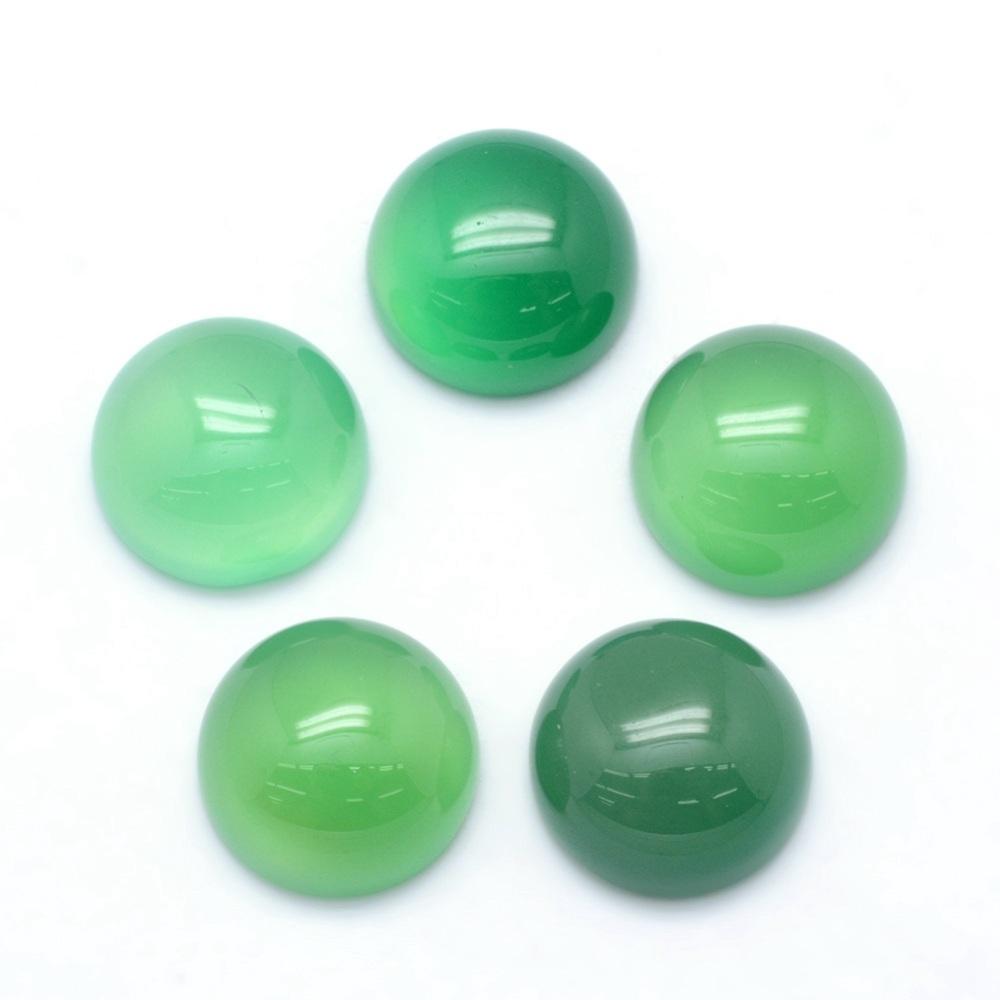PandaHall Natural Green Onyx Agate Cabochons, Half Round, 12x5~6mm Natural Agate Half Round