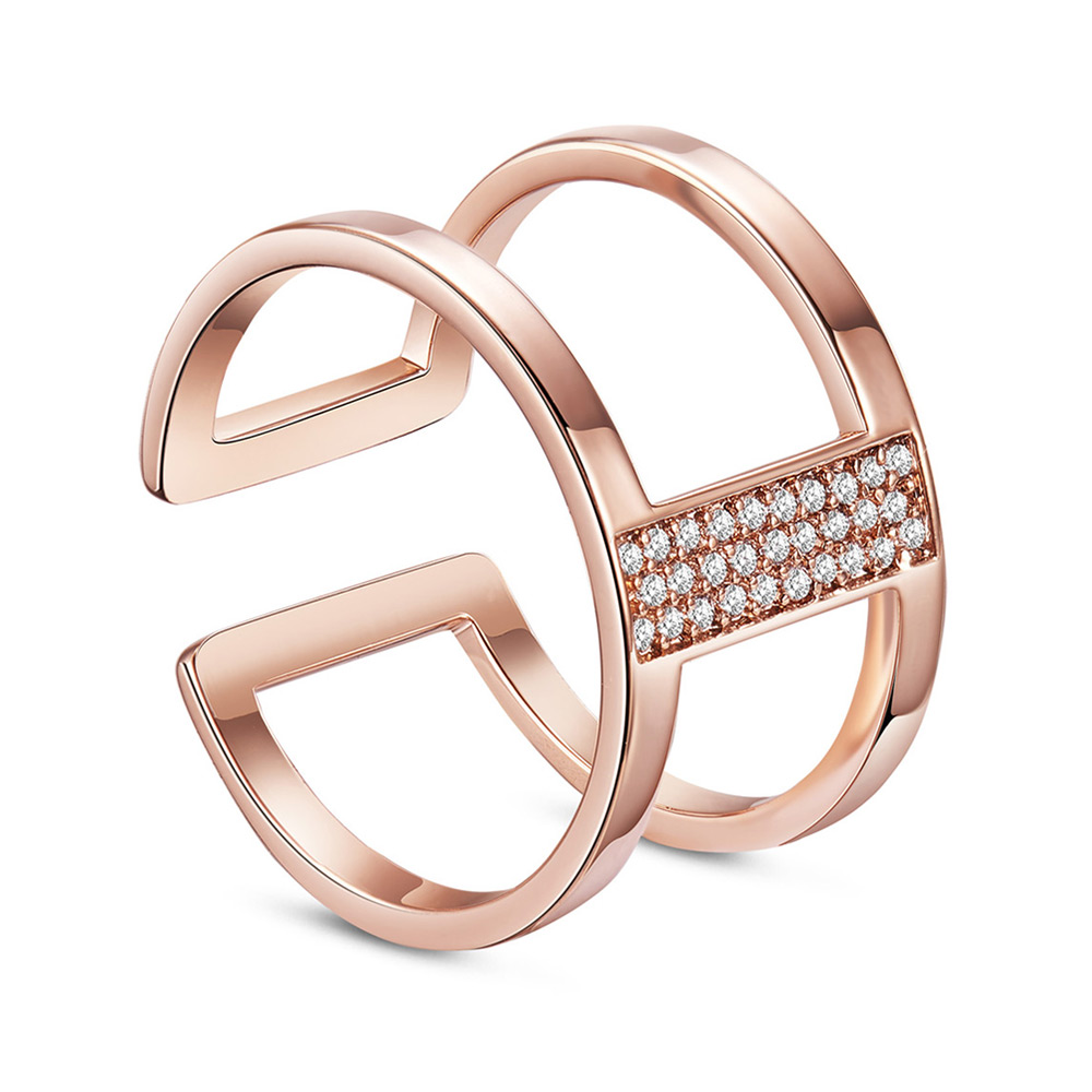 PandaHall SHEGRACE® Chic 925 Sterling Silver Double Bands Cuff Ring, Micro Pave AAA Cubic Zirconia, Rose Gold, 17mm Sterling Silver Clear
