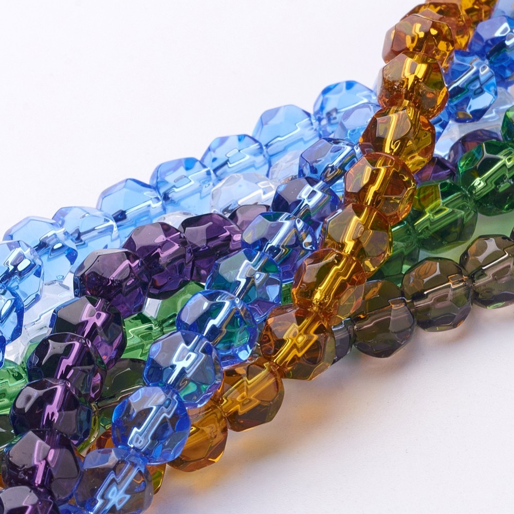 PandaHall_Glass_Beads_Strands_Faceted_Round_Mixed_Color_8mm_Hole_1mm_about_43pcsstrand_134_Glass_Round_Multicolor