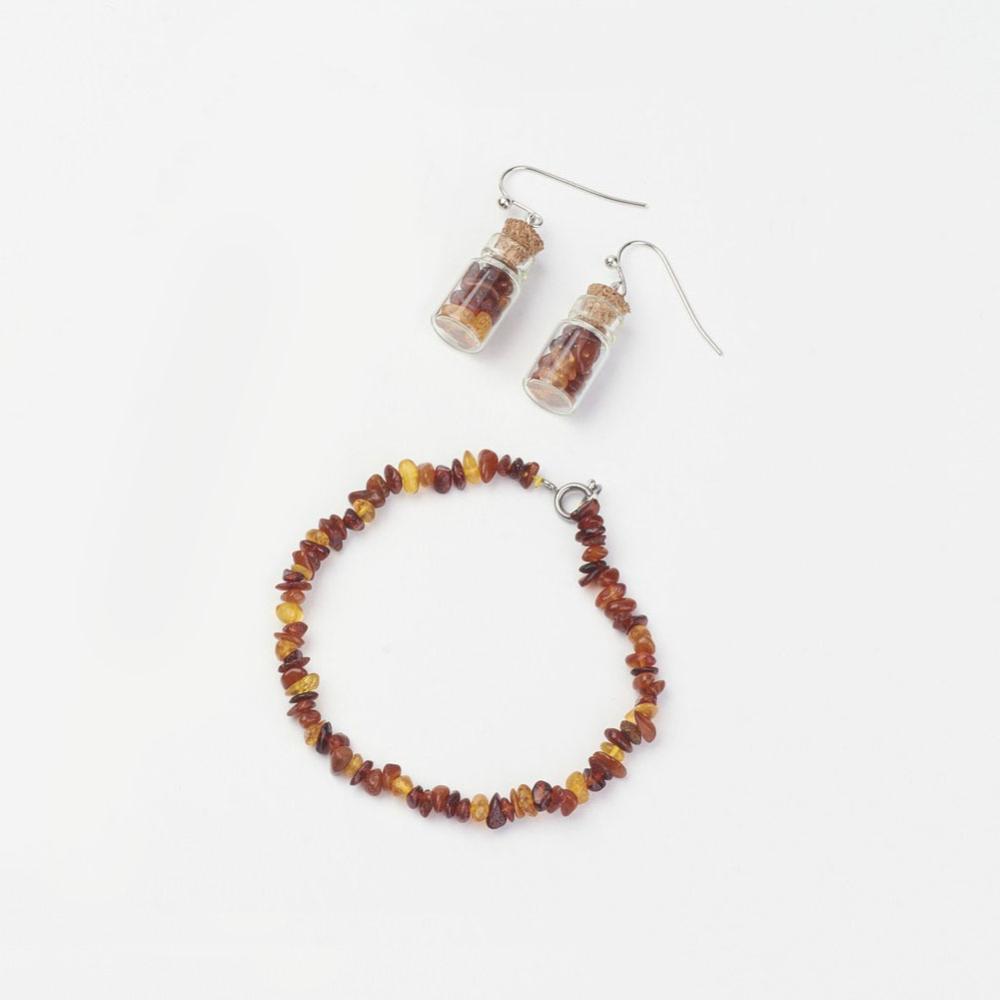 PandaHall Natural Amber Chips Jewelry Sets, Bracelets & Dangle Earrings, wit..