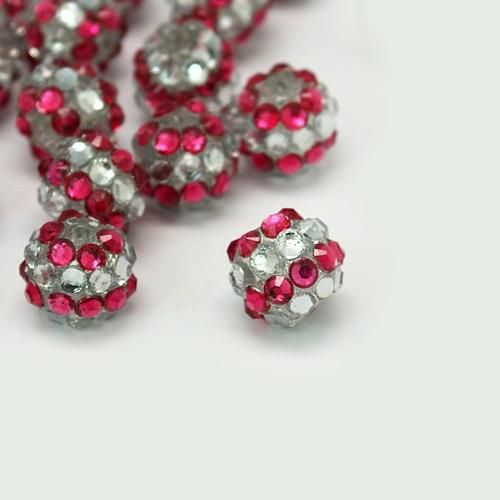 PandaHall_Chunky_Resin_Rhinestone_Beads_Resin_Round_Beads_Fuchsia_12mm_Hole_3mm_ResinRhinestone_Round_Pink