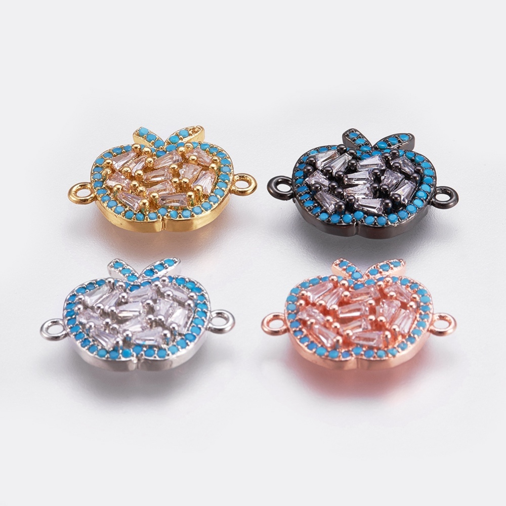 PandaHall_Brass_Micro_Pave_Cubic_Zirconia_Links_Apple_DodgerBlue_Mixed_Color_15x195x3mm_Hole_1mm_BrassCubic_Zirconia_Fruit_Blue