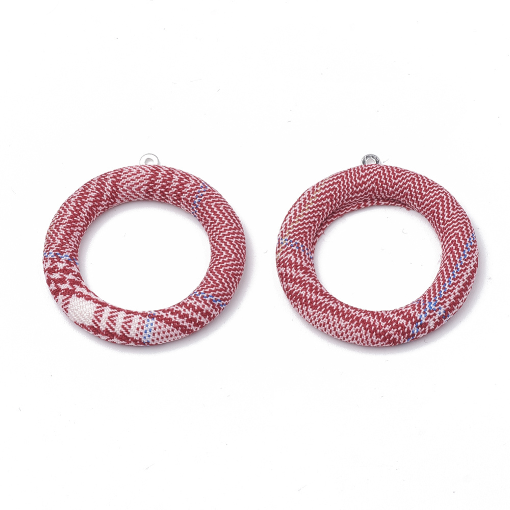 PandaHall_Cloth_Fabric_Covered_Pendants_with_Aluminum_Bottom_Ring_Platinum_Red_40x36x4mm_Hole_1mm_Cloth_Ring_Red