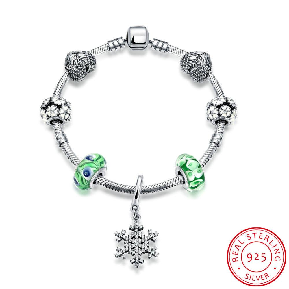 PandaHall_925_Thai_Sterling_Silver_European_Style_Bracelets,_Charm_Bracelets,_with_Enamel_and_Cubic_Zirconia,_Glass,_Snowflake,_SpringGreen...