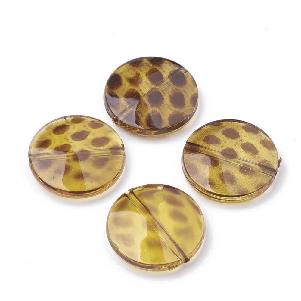 PandaHall_Transparent_Acrylic_Beads_Imitation_Leopard_Skins_Flat_Round_Goldenrod_21x5mm_Hole_18mm_Acrylic_Flat_Round_Gold