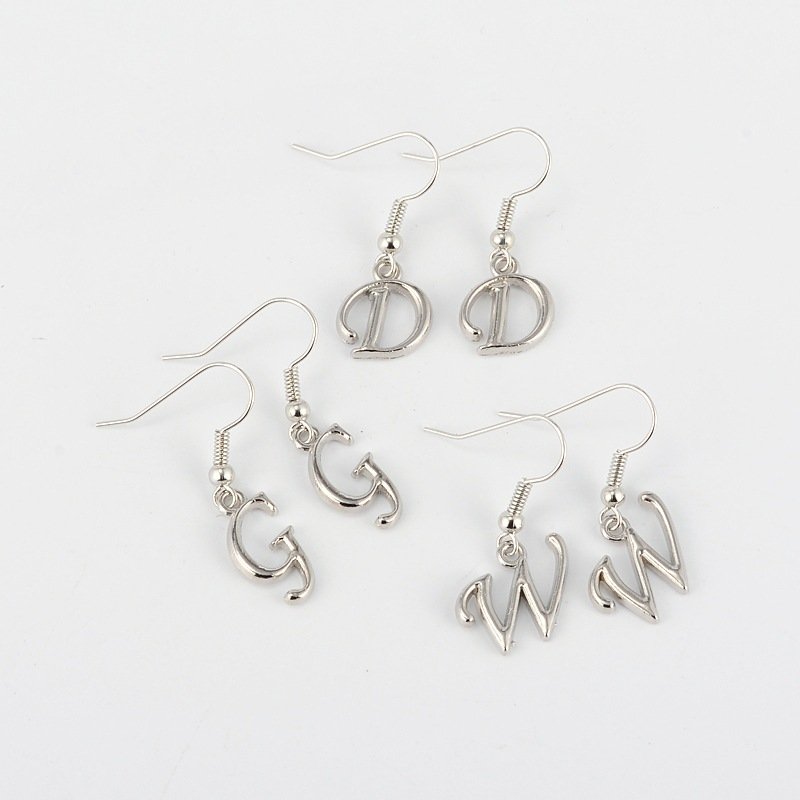 PandaHall Mixed Alphabet Alloy Letter Dangle Pendant Earrings, with Brass Earring Hooks, Platinum, 30~34mm; Pin: 0.7mm Alloy