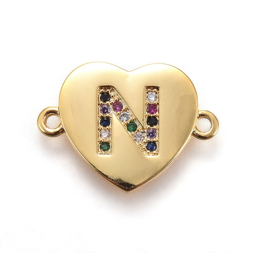PandaHall_Brass_Micro_Pave_Cubic_Zirconia_Links_Heart_with_Alphabet_Colorful_Golden_LetterN_14~145x195~20x15mm_Hole_15mm