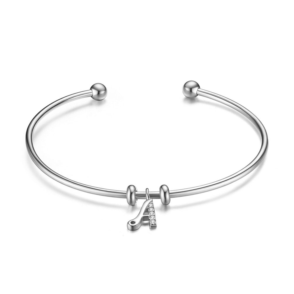 PandaHall SHEGRACE® 925 Sterling Silver Cuff Bangle, with Grade AAA Cubic Zirconia, Letter A, Platinum, 2-3/8(6.16cm) Sterling Silver...