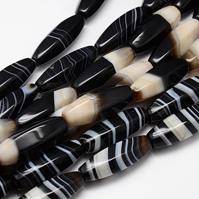 PandaHall Natural Striped Black Agate Beads Strands, Dyed, Rice, Mixed Style..