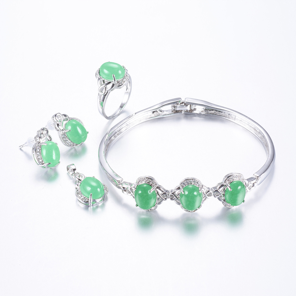 PandaHall Brass Rhinestone Jewelry Sets, Stud Earrings, Pendants, Bangles and Finger Rings, with Natural Malaysia Jade, Oval, Platinum...