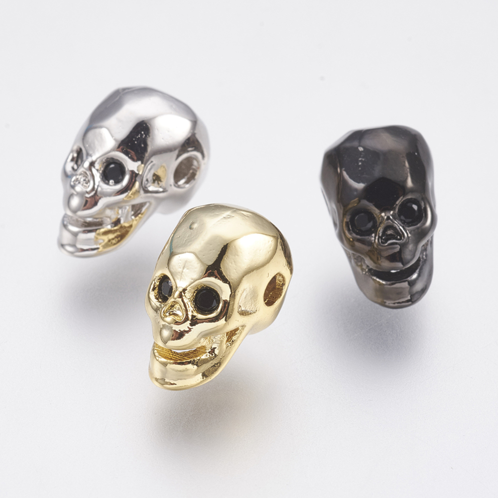 PandaHall_Environmental_Brass_Micro_Pave_Cubic_Zirconia_Beads_Lead_Free_&_Cadmium_Free_Skull_Mixed_Color_125x75x9mm_Hole_16mm