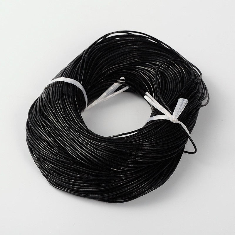 PandaHall_Cowhide_Leather_Cord_Leather_Jewelry_Cord_Jewelry_DIY_Making_Material_Round_Black_15MM_Cowhide_Black