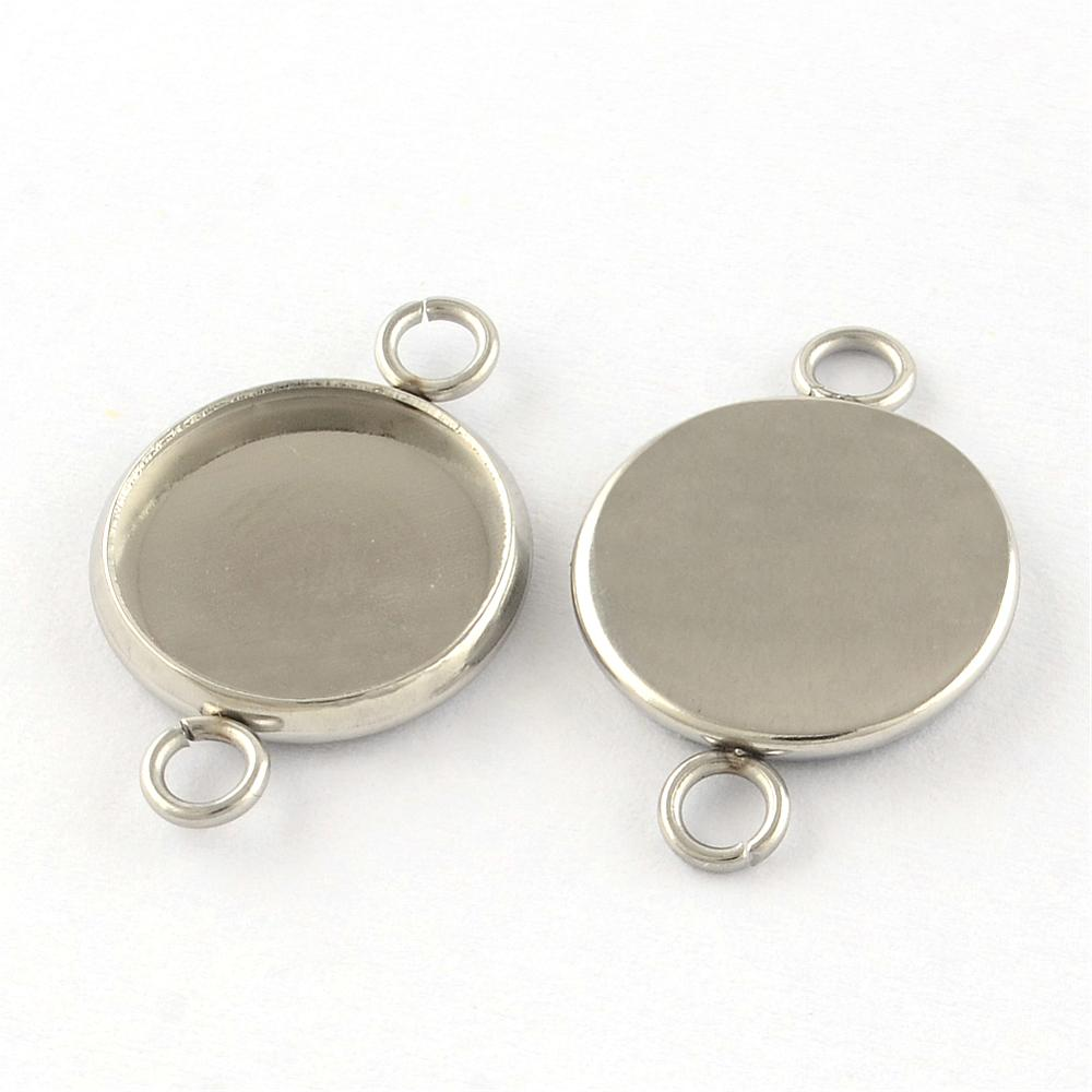 PandaHall_304_Stainless_Steel_Links_Cabochon_Settings_Flat_Round_Stainless_Steel_Color_Tray_10mm_19x12x2mm_Hole_2mm_Stainless_Steel