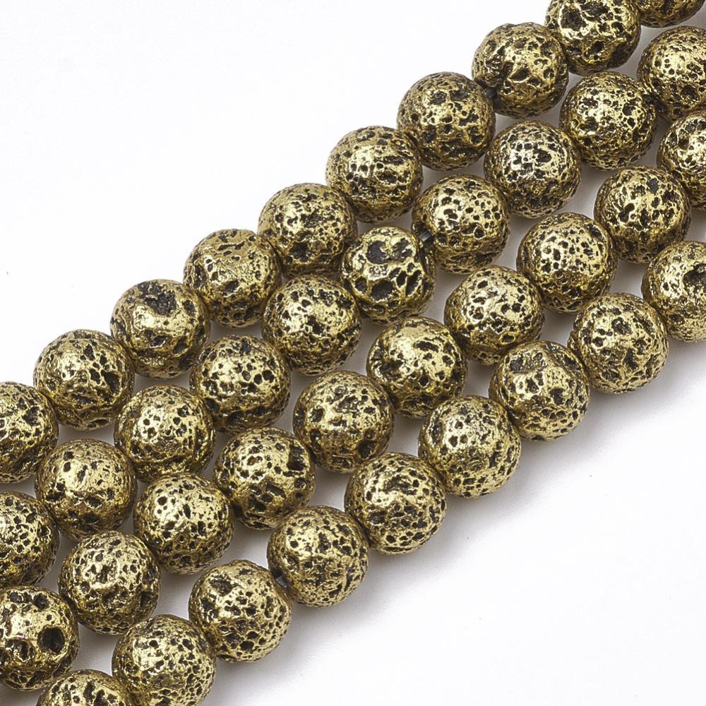 PandaHall Electroplated Natural Lava Beads Strands, Round, Bumpy, DarkGoldenrod, 6~6.5mm, Hole: 1mm; about 63pcs/strand, 15.5