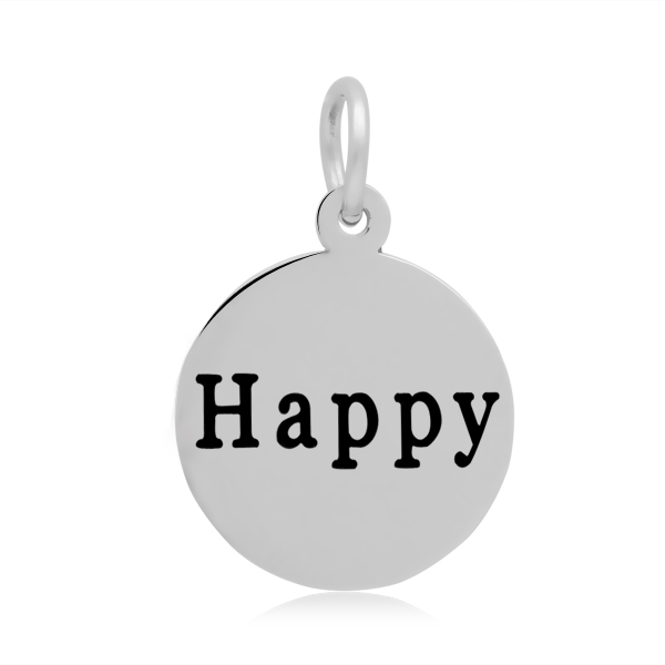 PandaHall 316 Stainless Steel Enamel Pendants, Flat Round with Word Happy, S..