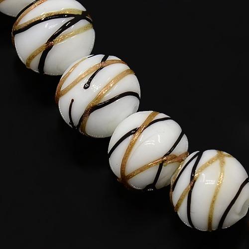 PandaHall Round Shaped Handmade Gold Sand Lampwork Beads Strands, White, 10m..