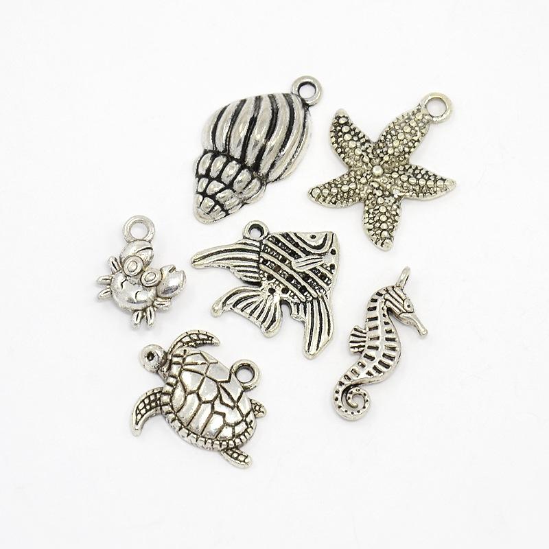 PandaHall_Antique_Silver_Mixed_Ocean_Tibetan_Style_Alloy_Pendants_Helix_Starfish_Sea_Horse_Crab_Fish_and_Tortoise