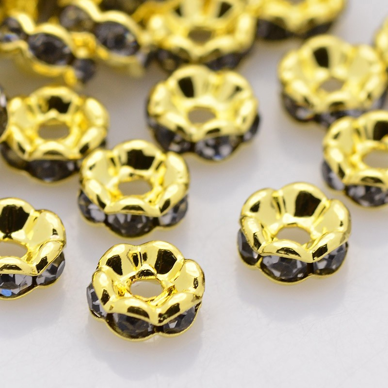 PandaHall Brass Rhinestone Spacer Beads, Grade AAA, Wavy Edge, Nickel Free, Golden Metal Color, Rondelle, Black Diamond, 5x2.5mm, Hole: 1mm...
