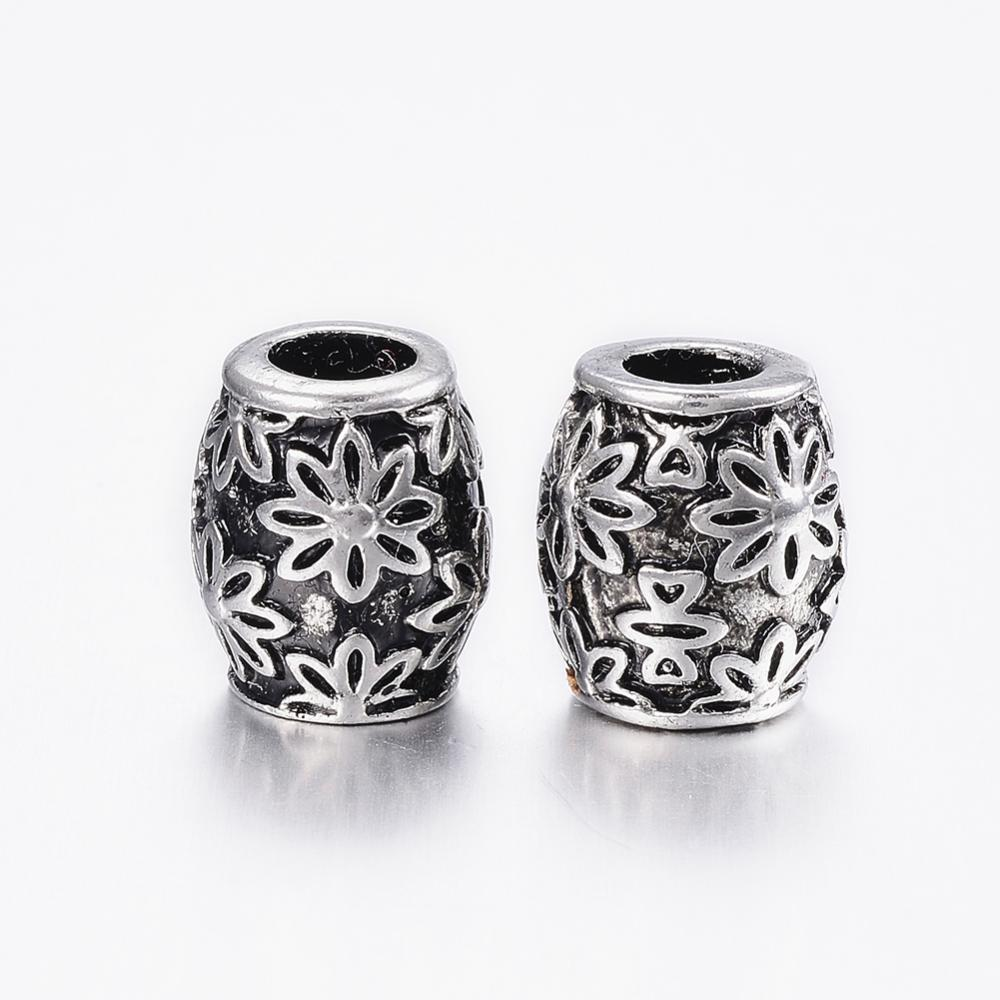 PandaHall_304_Stainless_Steel_European_Beads_Large_Hole_Beads_Barrel_with_Flower_Antique_Silver_125x11mm_Hole_5mm_Stainless_Steel