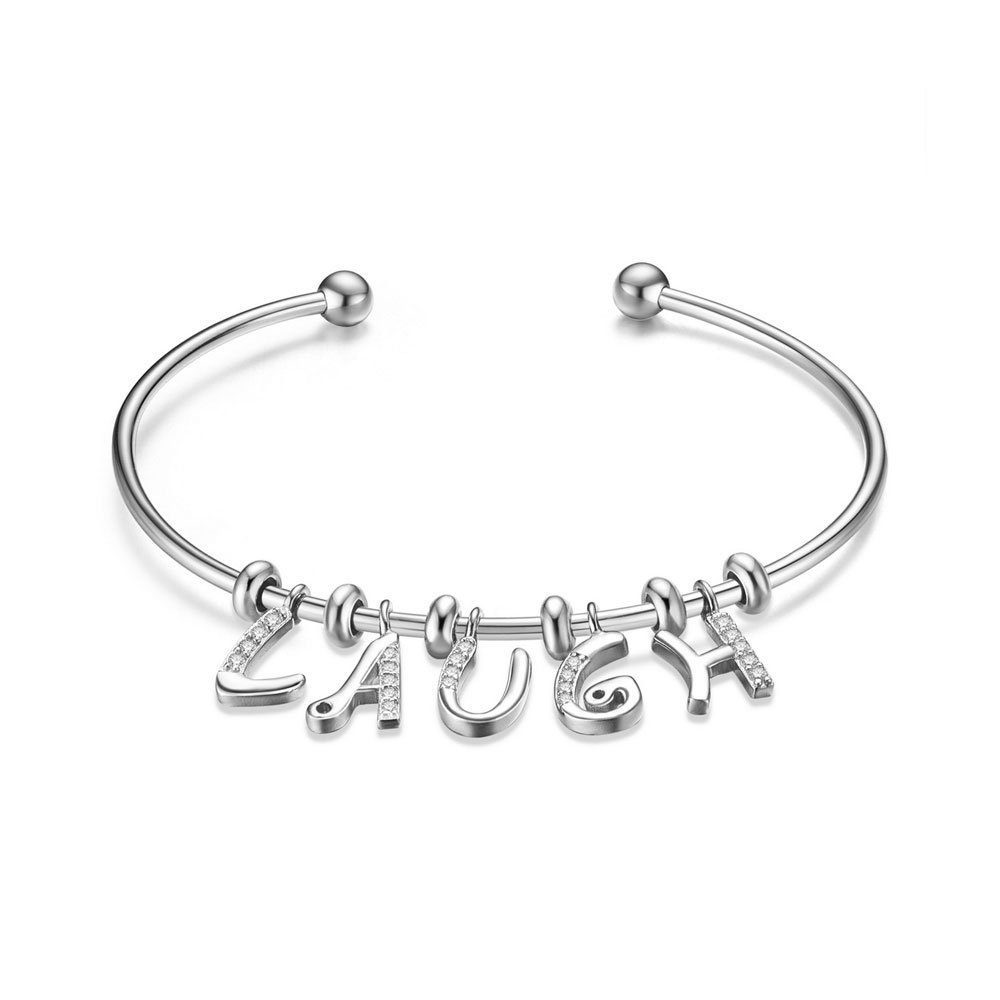 PandaHall SHEGRACE® 925 Sterling Silver Cuff Bangle, with Grade AAA Cubic Zirconia, Letter LAUGH, Platinum, 2-3/8(6.16cm) Sterling...