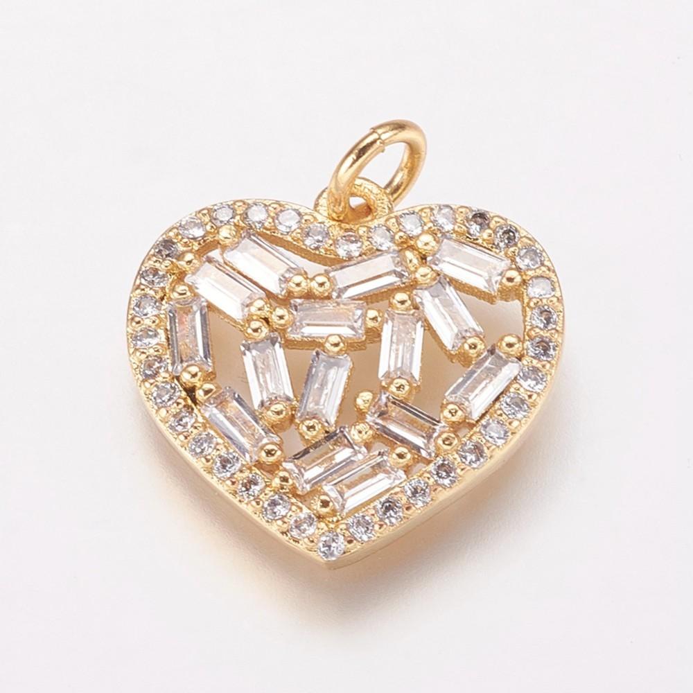 PandaHall Brass Cubic Zirconia Penadnts, Heart, Golden, 16x17x3mm, Hole: 3mm Brass+Cubic Zirconia Heart Clear