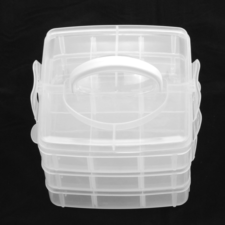 PandaHall_Plastic_Bead_Containers_Rectangle_Three_Layers_A_Total_of_18_Compartments_Clear_155x160x130mm_Compartment_48x71~51x72mm