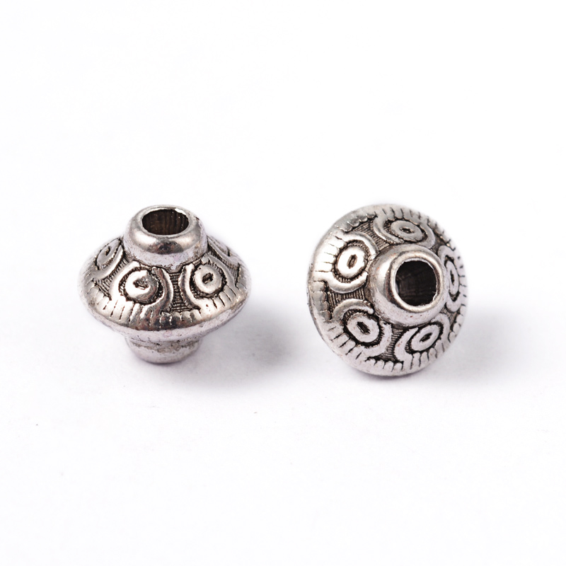 PandaHall_Tibetan_Style_Bead_Spacers_Lead_Free_&_Cadmium_Free_&_Nickel_Free_Bicone_Antique_Silver_about_65mm_in_diameter_75mm_thick