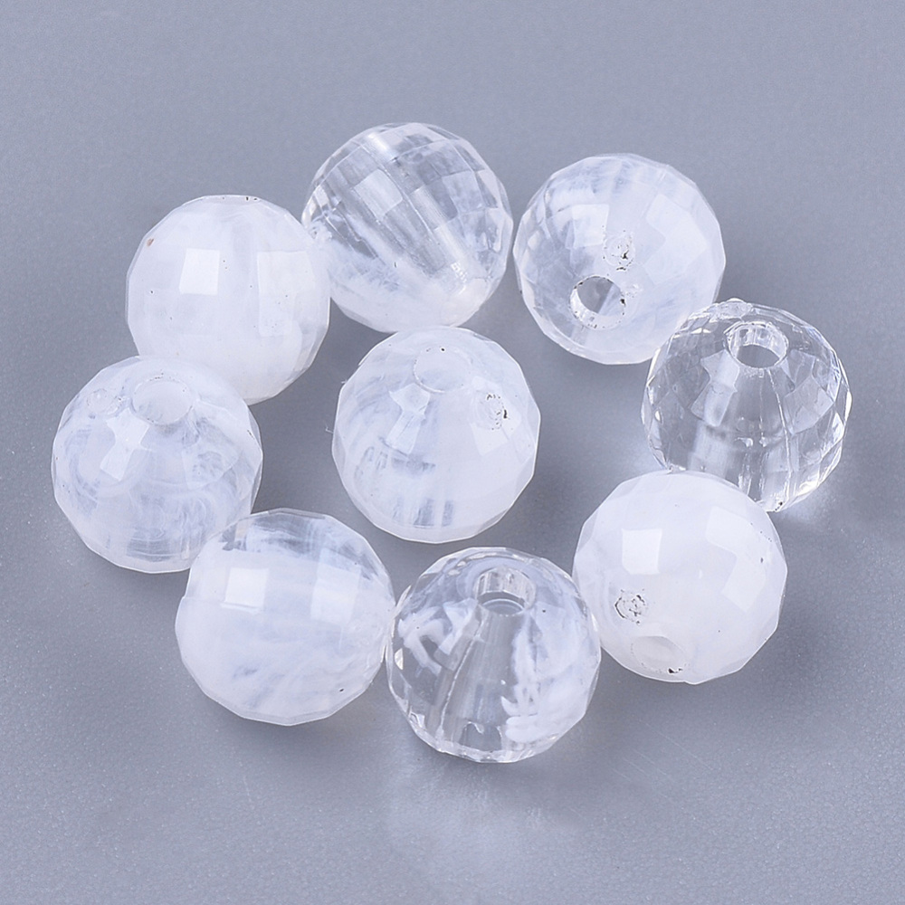 PandaHall_Acrylic_Beads_Imitation_Cloud_Faceted_Round_Clear_&_White_6mm_Hole_16mm_about_4200pcs500g_Acrylic_Round_White