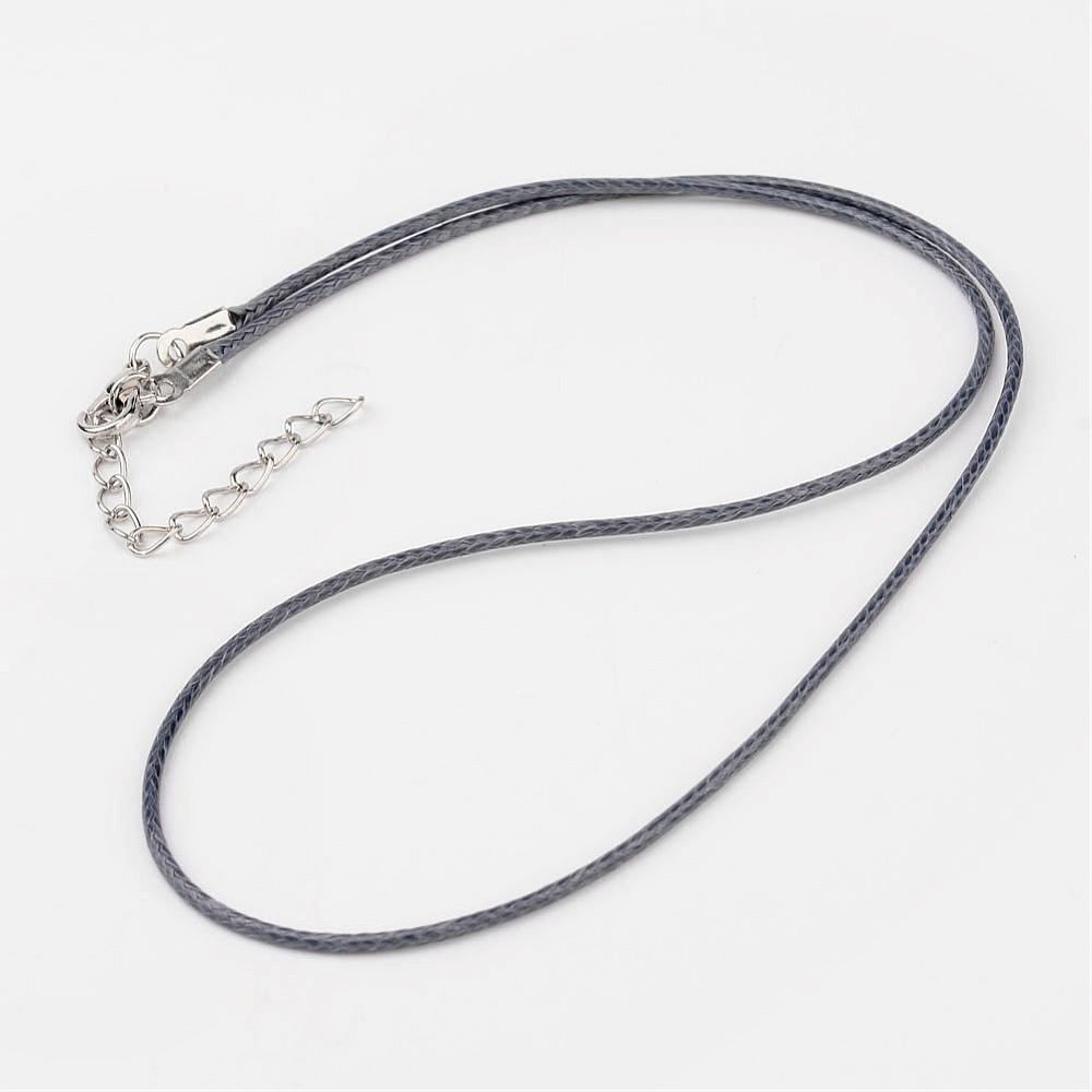PandaHall Korean Waxed Polyester Cord Necklace Makings, with Alloy Clasps, SteelBlue, 18.1