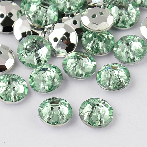 PandaHall_2Hole_Taiwan_Acrylic_Rhinestone_Flat_Round_Buttons_Faceted_&_Silver_Plated_Pointed_Back_PaleGreen_13x5mm_Hole_1mm_Acrylic