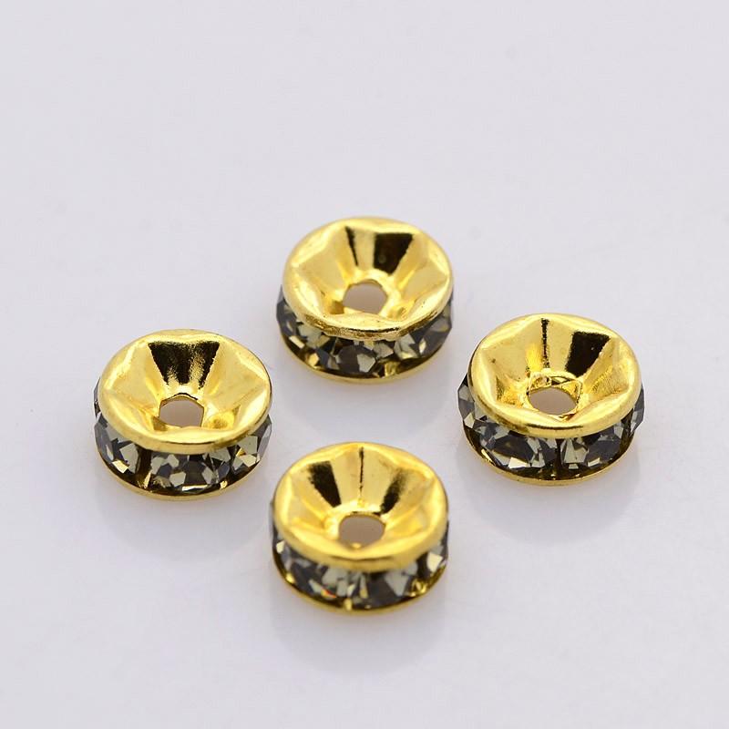 PandaHall Brass Rhinestone Spacer Beads, Grade A, Straight Flange, Golden Me..