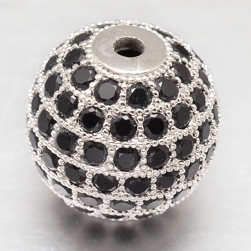 PandaHall_CZ_Brass_Micro_Pave_Cubic_Zirconia_Round_Beads_Platinum_8mm_Hole_2mm_BrassCubic_Zirconia_Round_Black