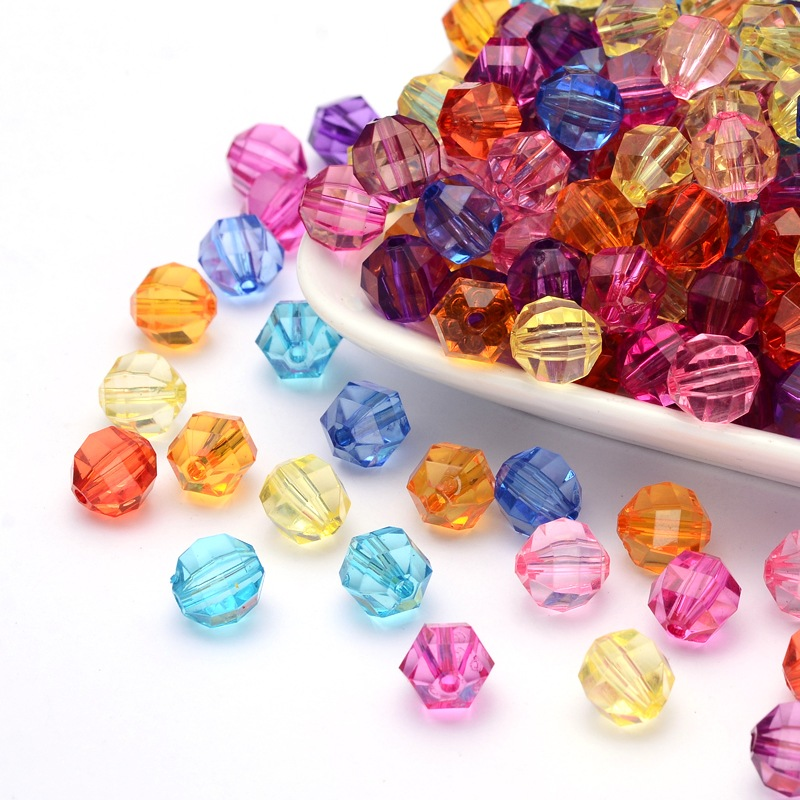 PandaHall Mixed Color Transparent Acrylic Faceted Round Beads, 10mm in diame..