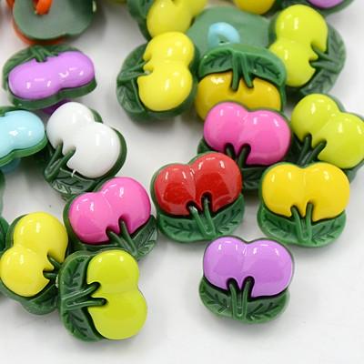 PandaHall_Acrylic_Shank_Buttons_1Hole_Dyed_Cherry_Mixed_Color_12x12x4mm_Hole_3x2mm_Acrylic_Fruit_Multicolor
