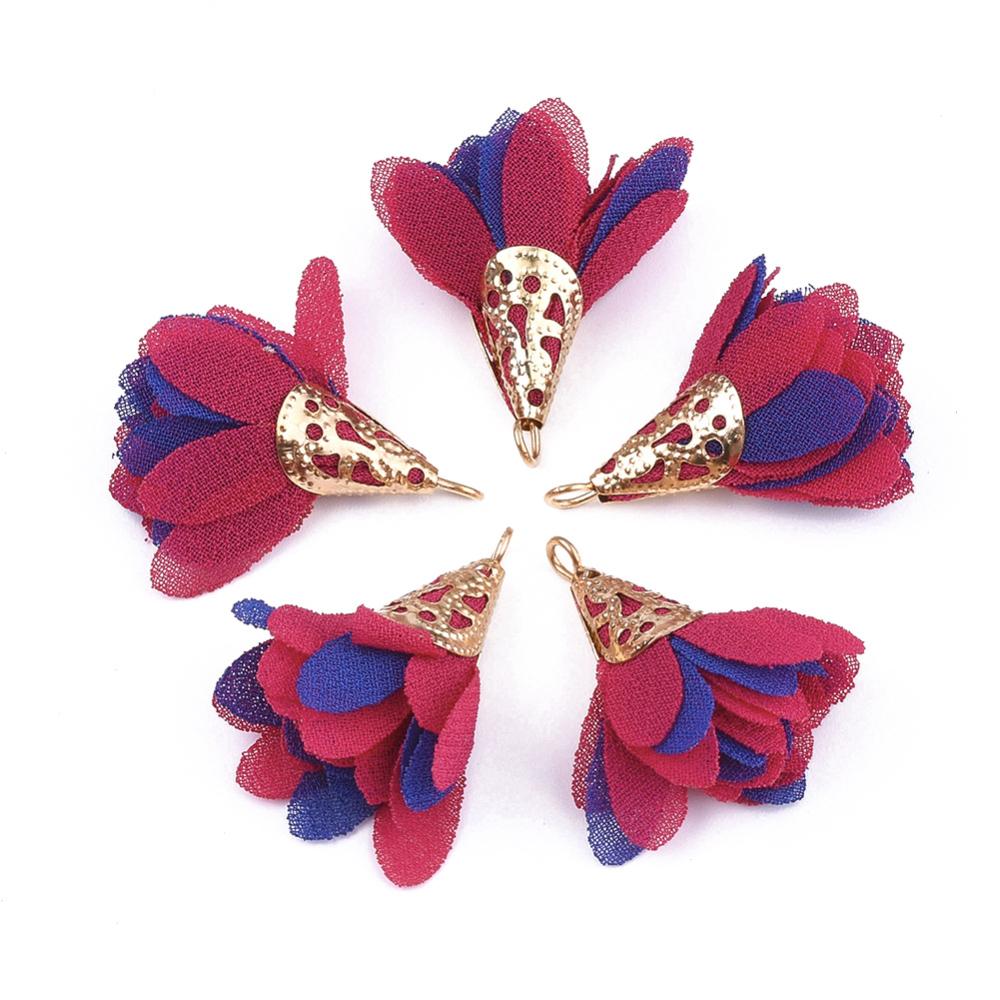 PandaHall_Iron_Pendants_with_Chiffon_Flower_Golden_DeepPink_28~32x25~32mm_Hole_1~4mm_Cloth_Flower_Pink