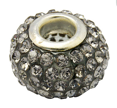 PandaHall Resin Rhinestone Beads, with Silver Color Brass Double Cores, Grad..