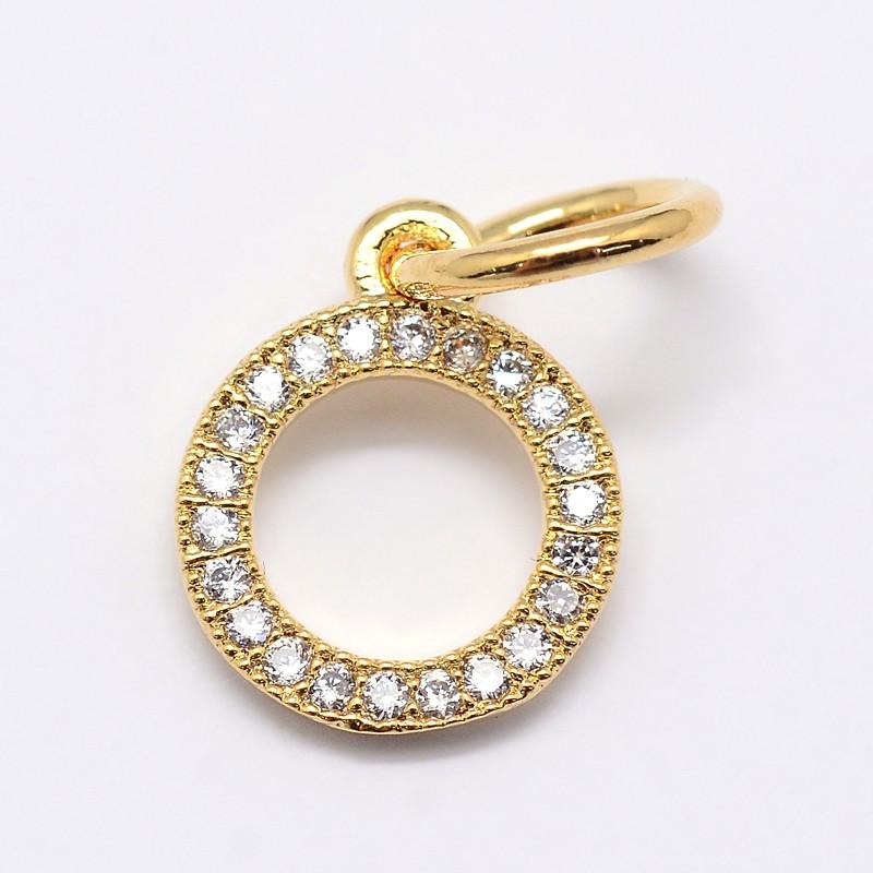 PandaHall CZ Brass Micro Pave Cubic Zirconia Circle Charms, Golden, 11x9x2mm..