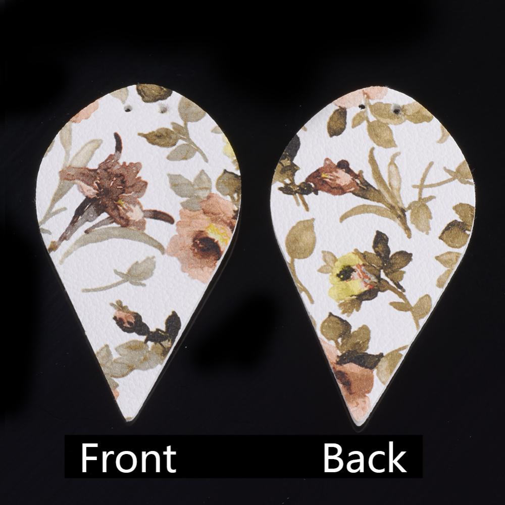PandaHall_PU_Leather_Big_Pendants_Leaf_with_Flower_Pattern_Colorful_62x35x2mm_Hole_15mm_Imitation_Leather_Leaf