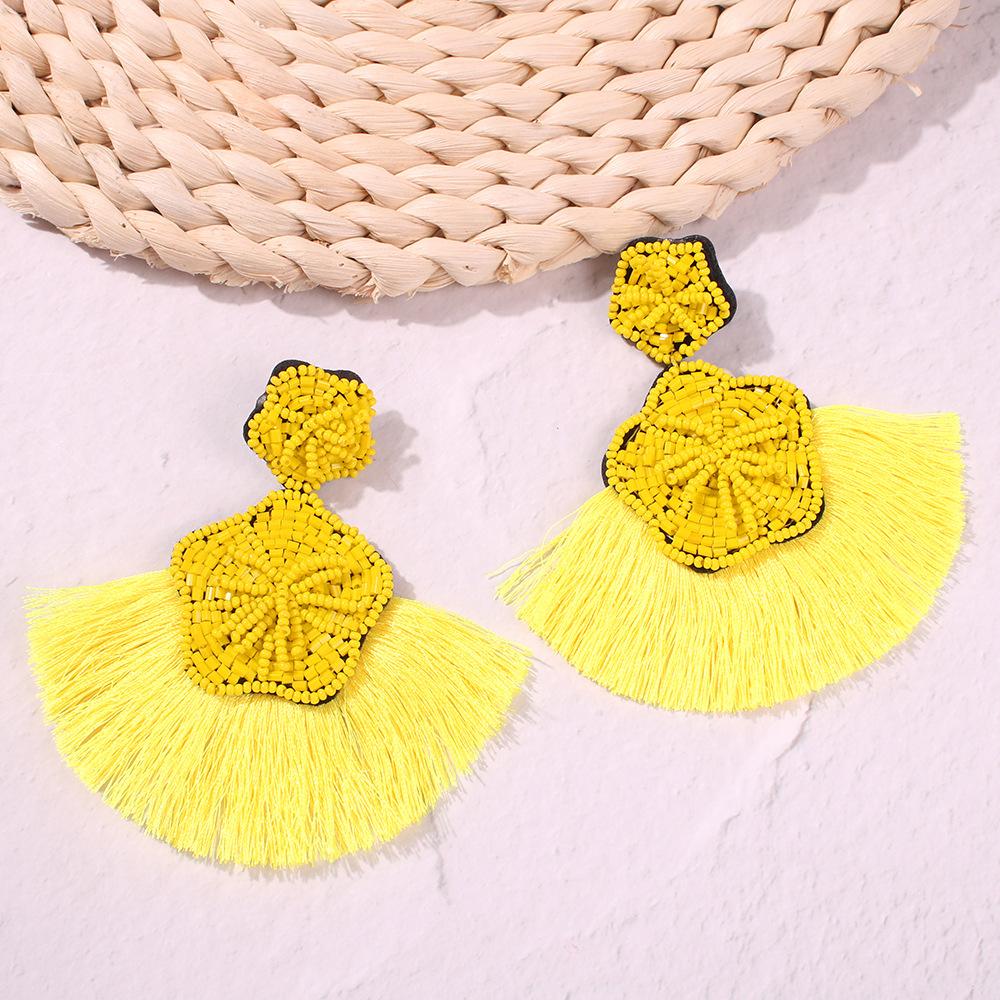 PandaHall_Nylon_Tassel_Earring_Studs_with_Seed_Beads_Fan_Shape_with_Flower_Yellow_95x90mm_Nylon_Yellow