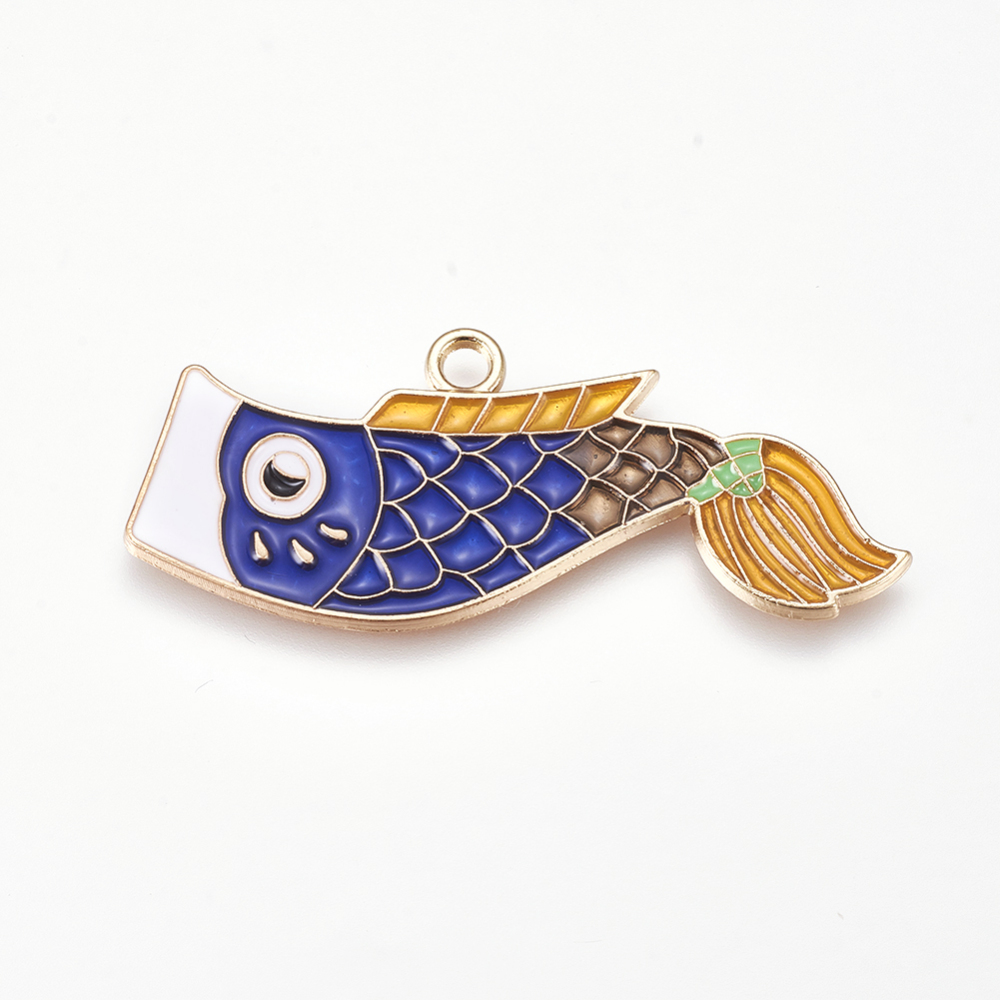 PandaHall_Alloy_Enamel_Pendants_Koi_Fish_Golden_Blue_19x46x15mm_Hole_28mm_AlloyEnamel_Fish_Blue