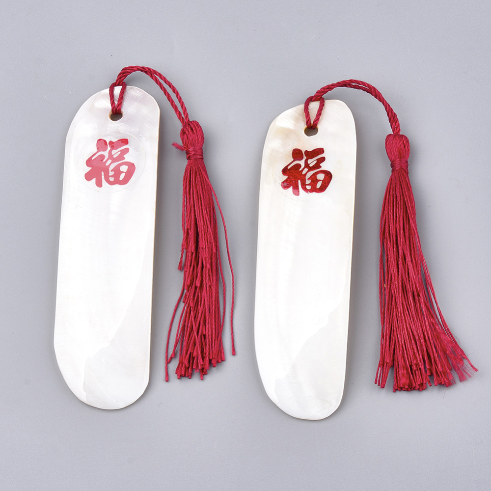 PandaHall_Freshwater_Shell_Pendant_Decorations_with_Polyester_Tassel_White_230mm_Shell_107~109x30x2~3mm_Shell_Rectangle_White