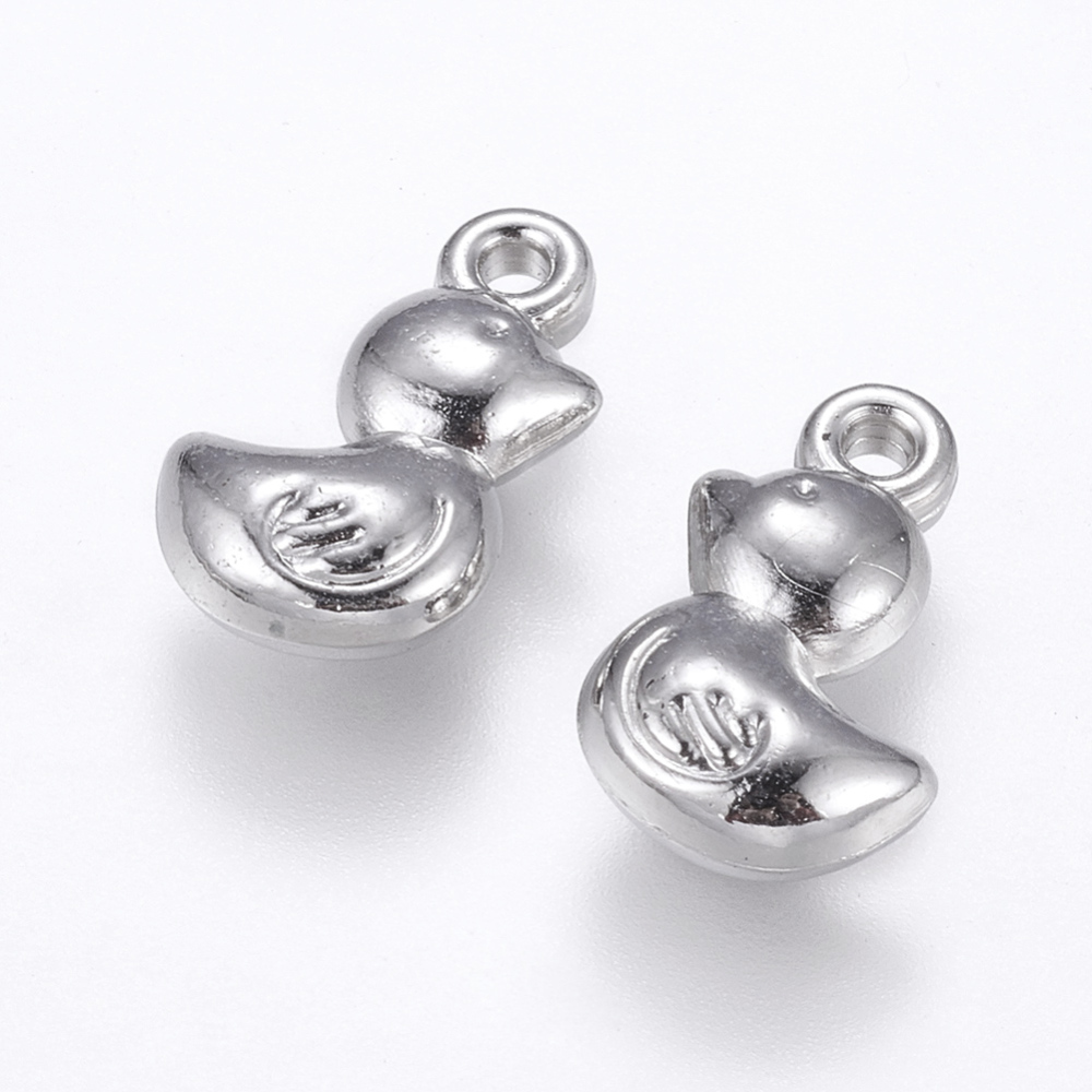 PandaHall_CCB_Plastic_Pendants_Duck_Platinum_14x9x4mm_Hole_1mm_Plastic_Duck