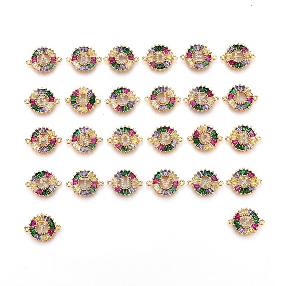 PandaHall Brass Micro Pave Cubic Zirconia Links, Flat Round with Alphabet, Colorful, Golden, Mixed, 15.5x20.5x2mm, Hole: 1.2mm Brass+Cubic...